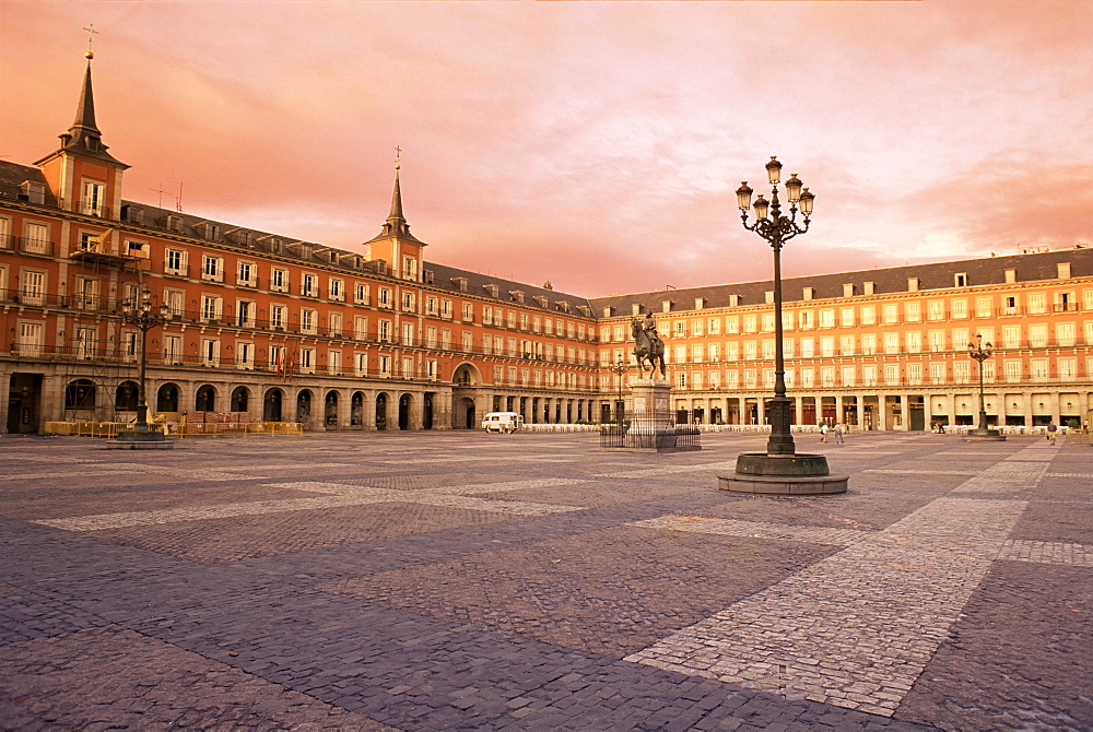 Plaza Mayor from the east, Madrid, Spain, Europe