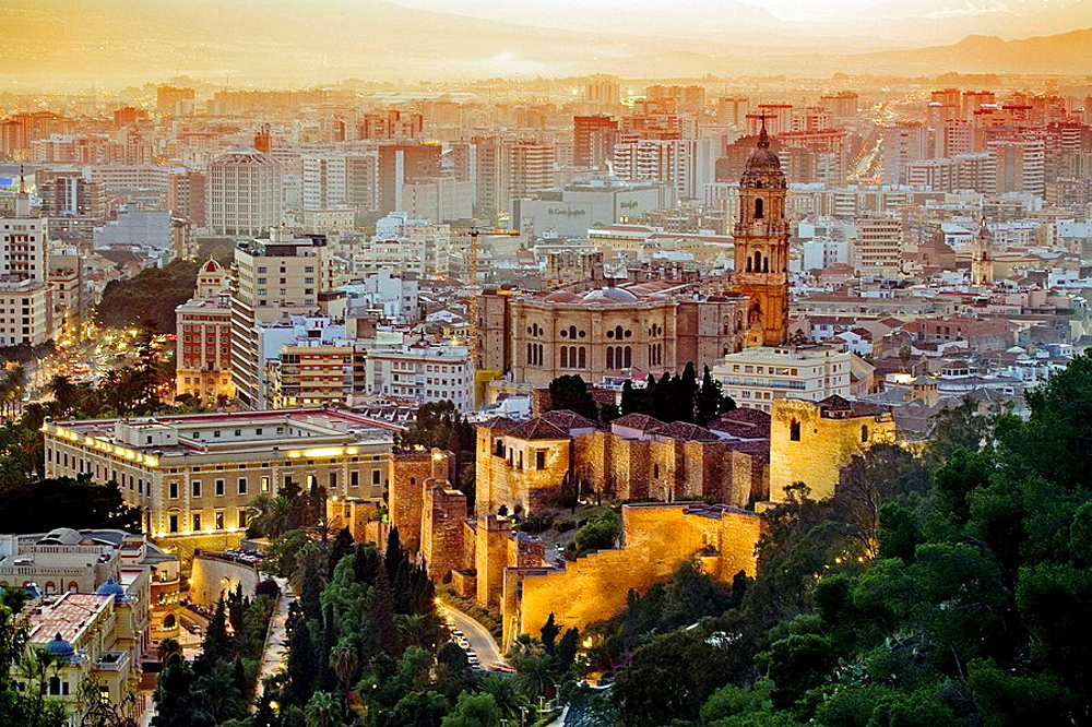 In front the moorish Alcazaba, and the cathedral, Malaga province, Spain.