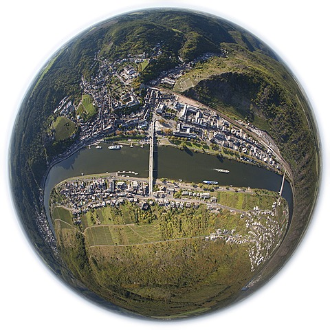Aerial view, taken with a fisheye lens, loop of the Moselle River near ...