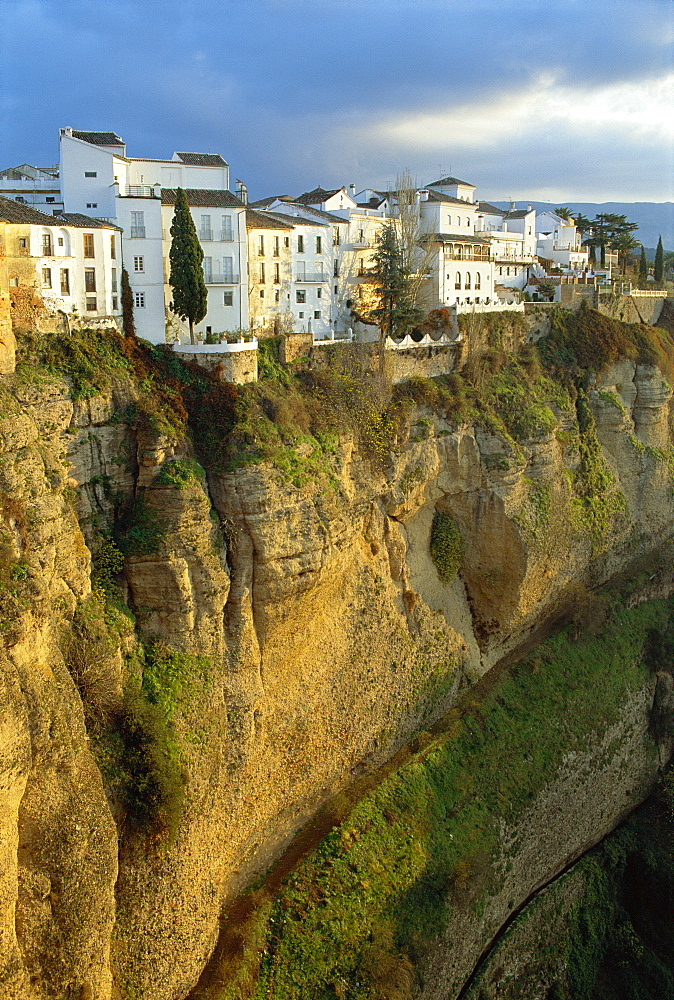 Houses perched on cliffs, Ronda, Andalucia, Spain